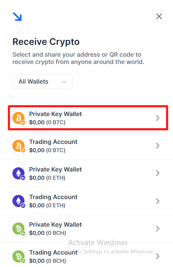 Chọn Private key wallet